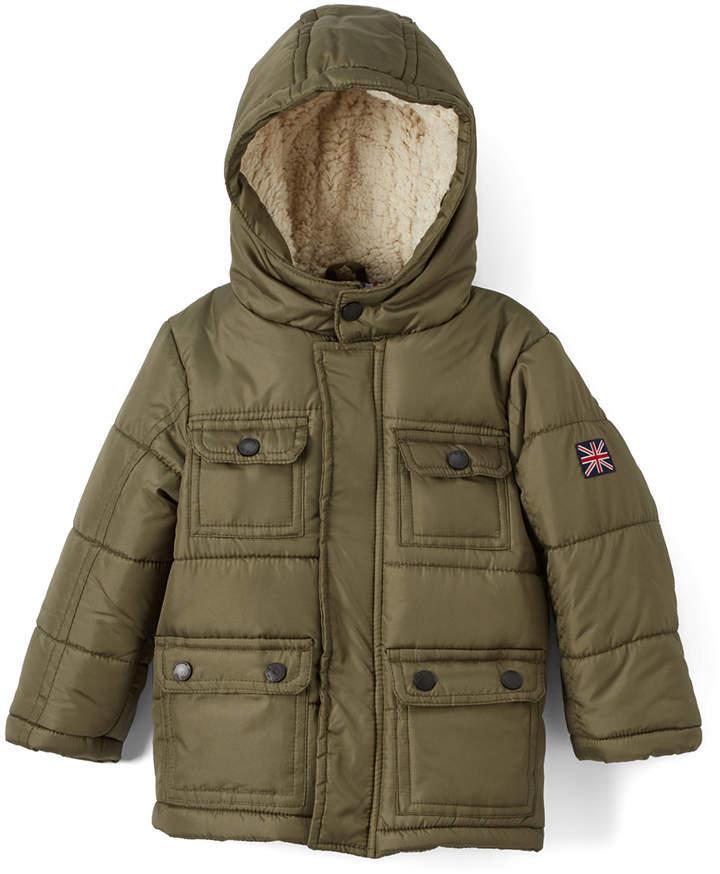 Ben Sherman Olive Four Pocket Hooded Puffer Jacket Infant Toddler