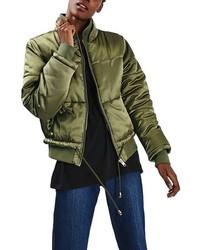 Topshop Petite Carter Satin Puffer Jacket
