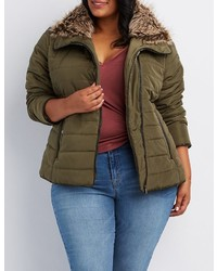 Charlotte Russe Plus Size Faux Fur Trim Quilted Puffer Jacket