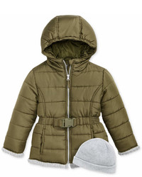 S Rothschild Belted Puffer Jacket With Hat Little Girls