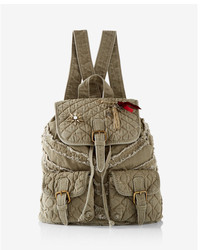 Express Quilted Embellished Drawstring Backpack