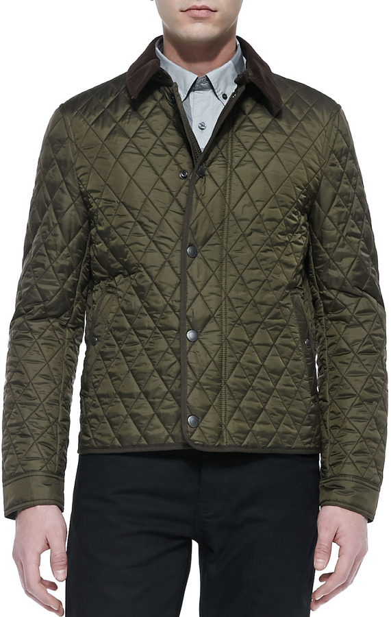 Burberry Brit Corduroy Collar Quilted Nylon Jacket Olive | Where ... : quilted nylon jacket - Adamdwight.com