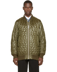 Green quilted bomber jacket medium 593068