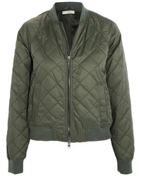 Vince Quilted Shell Bomber Jacket Army Green