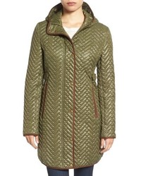 Larry Levine Quilted Hooded Coat With Faux Suede Trim