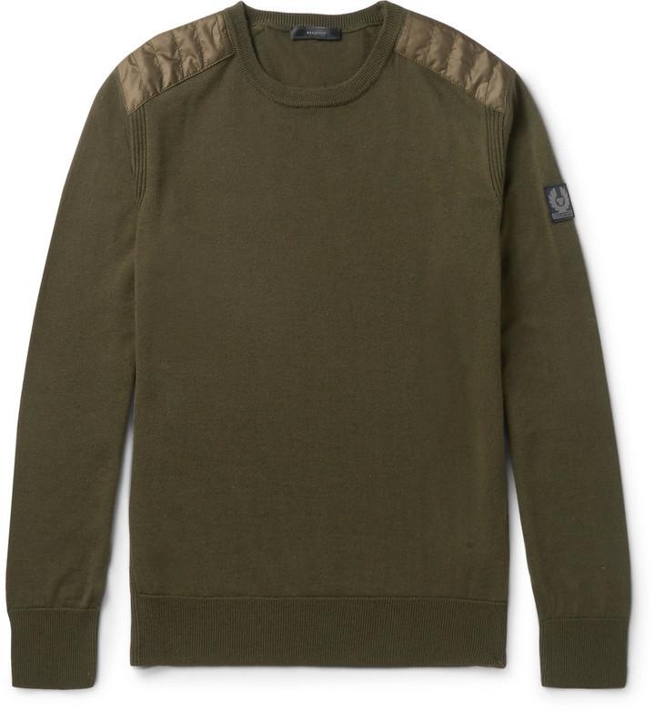 50a90c70c550 ... Belstaff Kerrigan Quilted Shell Trimmed Virgin Wool Sweater ...