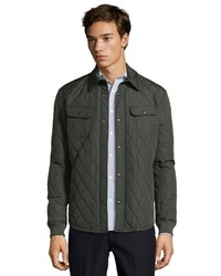 Vince Olive Quilted Cpo Snap Front Jacket