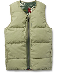 Reversible quilted cotton blend flannel down gilet medium 815162