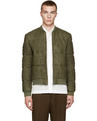 Green lambskin quilted bomber jacket medium 700752