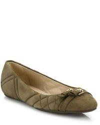 Burberry Avonwick Quilted Suede Ballet Flats