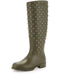 Saint Laurent Crystal Rubber Rain Boot Kaki Fonce