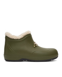 Gucci Green Rubber Interlocking G Horsebit Boots