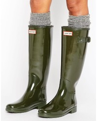 Hunter Original Refined Gloss Dark Olive Tall Wellington Boots