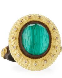 Armenta Old World Oval Topaz Malachite Doublet Stacking Ring W Champagne Diamonds Size 7