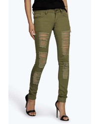 Boohoo Leah Ripped Low Rise Skinny Jeans