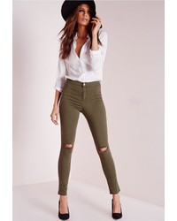 Missguided Lawless Mid Rise Ripped Knee Jegging Khaki