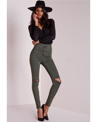 Missguided Vice Super Stretch High Waisted Ripped Knee Skinny Jeans Khaki