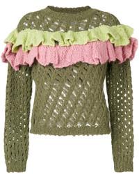 Moschino Boutique Open Knit Ruffle Top