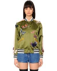 Valentino Butterflies Silk Satin Bomber Jacket