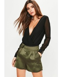 Missguided Khaki Satin Knot Detail Shorts