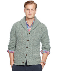 b29f55e130 Big And Tall Cable Knit Wool Cashmere Cardigan Sweater