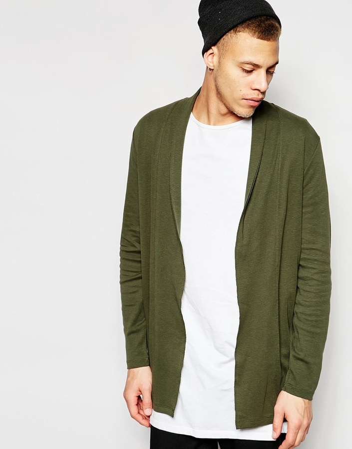 Asos Brand Super Longline Jersey Cardigan In Khaki | Where to buy ...