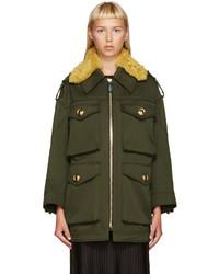 Burberry Green Shearling Collar Jacket