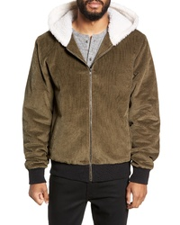 Twenty Champlain Cotton Corduroy Faux Shearling Hooded Bomber Jacket