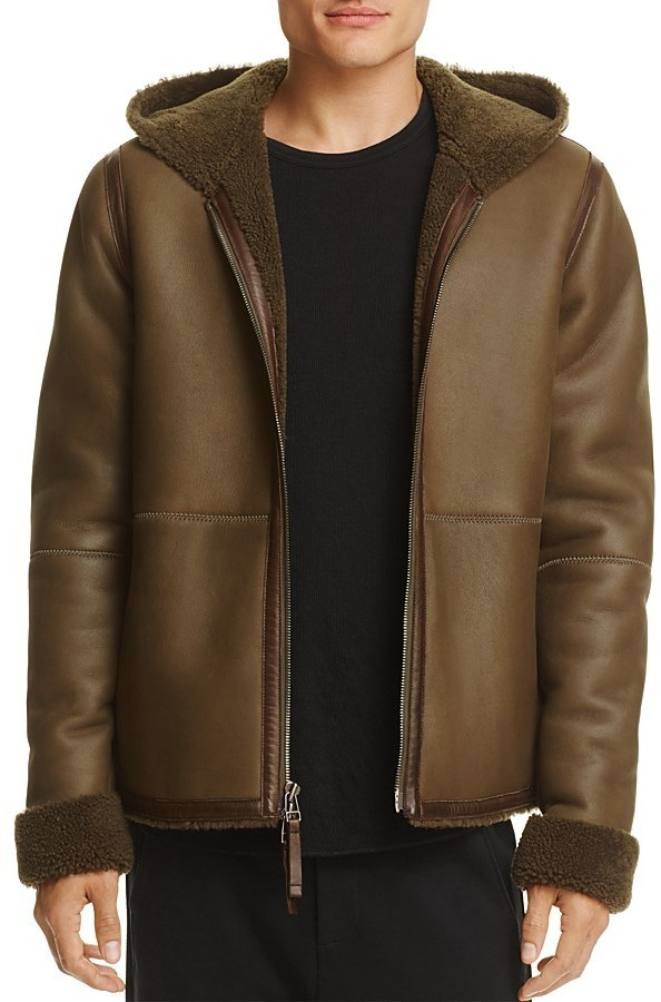 Vince Hooded Shearling Jacket