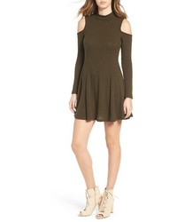Mimichica Mimi Chica Ribbed Cold Shoulder Shift Dress