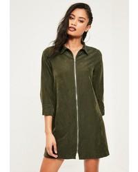 Missguided Khaki Big Cuff Zip Down Soft Shift Dress