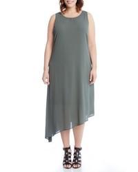 Karen Kane Plus Size Asymmetrical Overlay Shift Dress