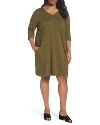 Eileen Fisher Plus Size Organic Cotton Jersey Shift Dress