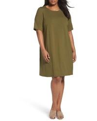 Eileen Fisher Plus Size Stretch Jersey Shift Dress