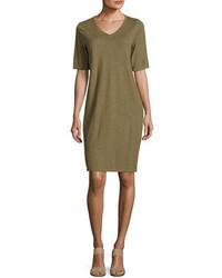 Eileen Fisher V Neck Jersey Shift Dress