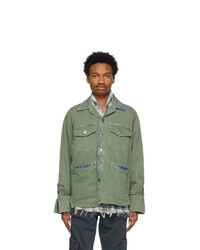 Greg Lauren Green Denim Edged Boxy Jacket