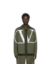 Valentino Khaki And White Vlogo Jacket