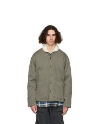 Greg Lauren Khaki Sherpa Shawl Collar Boxy Jacket