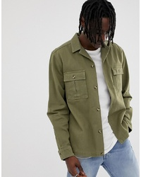 ASOS DESIGN Overshirt In Khaki With Double Pockets