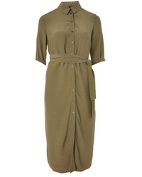 Topshop Belted Midi Shirt Dress