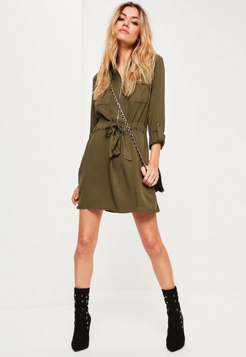 2662e61a80ef ... Olive Shirtdresses Missguided Khaki Tie Waist Military Shirt Dress