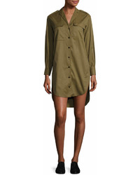 Rag & Bone Mason Long Sleeve Shirt Dress Olive