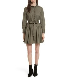 New york ruffle trim poplin shirtdress medium 5209673