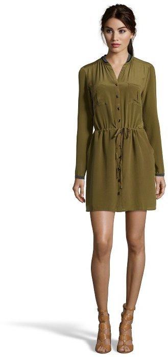 ... Greylin Olive Green Silk Melissa Long Sleeve Shirt Dress 5b6056173