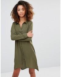 Vero Moda Shirt Dress With Slits And Keyhole Back
