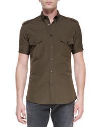 Alexander McQueen Short Sleeve Military Shirt Olive Green