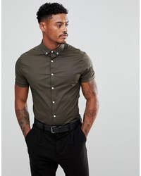 ASOS DESIGN Skinny Shirt In Khaki With Short Sleeves And Collar