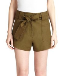 Derek Lam 10 Crosby Tie Waist Stretch Cotton Cargo Shorts