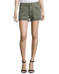 Mika high rise military shorts with raw hem green medium 3651219