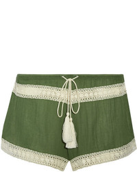 Pippa crochet trimmed gauze shorts army green medium 4393900